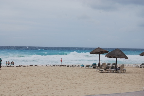 The beach at the resort we own a timeshare in Cancun, Mexico. White sand and turtles!