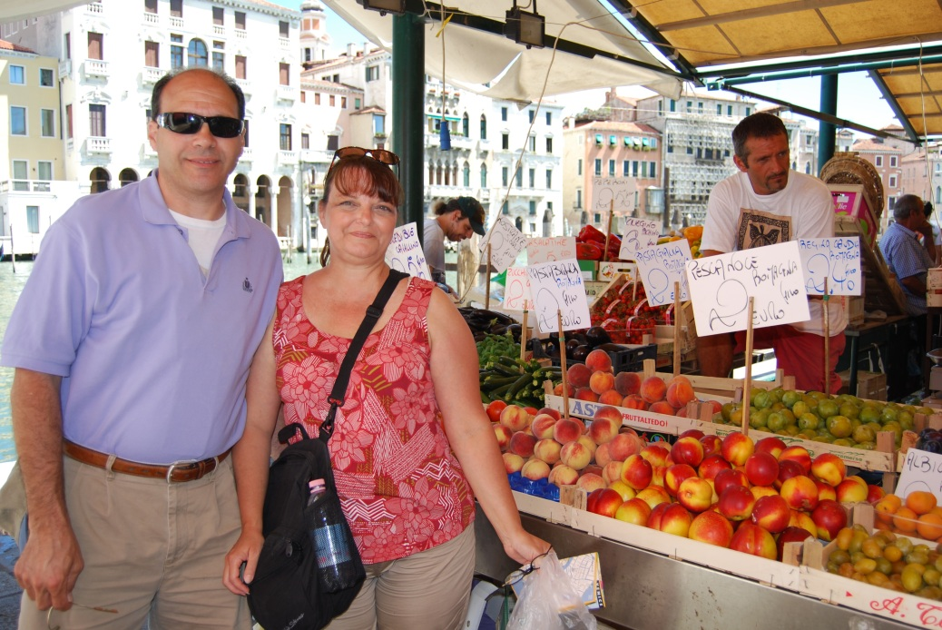 Donald & Valerie at the market in Venice