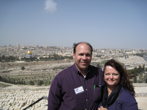 Donald & Valerie in Jerusalem, Israel standing on the mount of olives with the Old City in the back ground. www.PieLadyLife.com