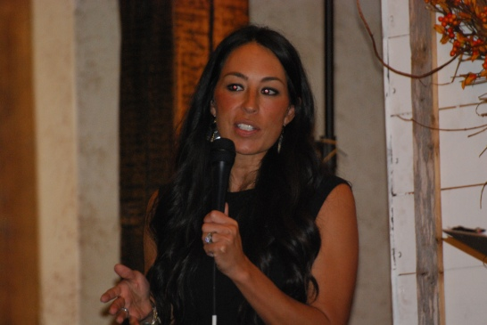 Joanna Gaines speaking at their fall workshop in Waco, Texas