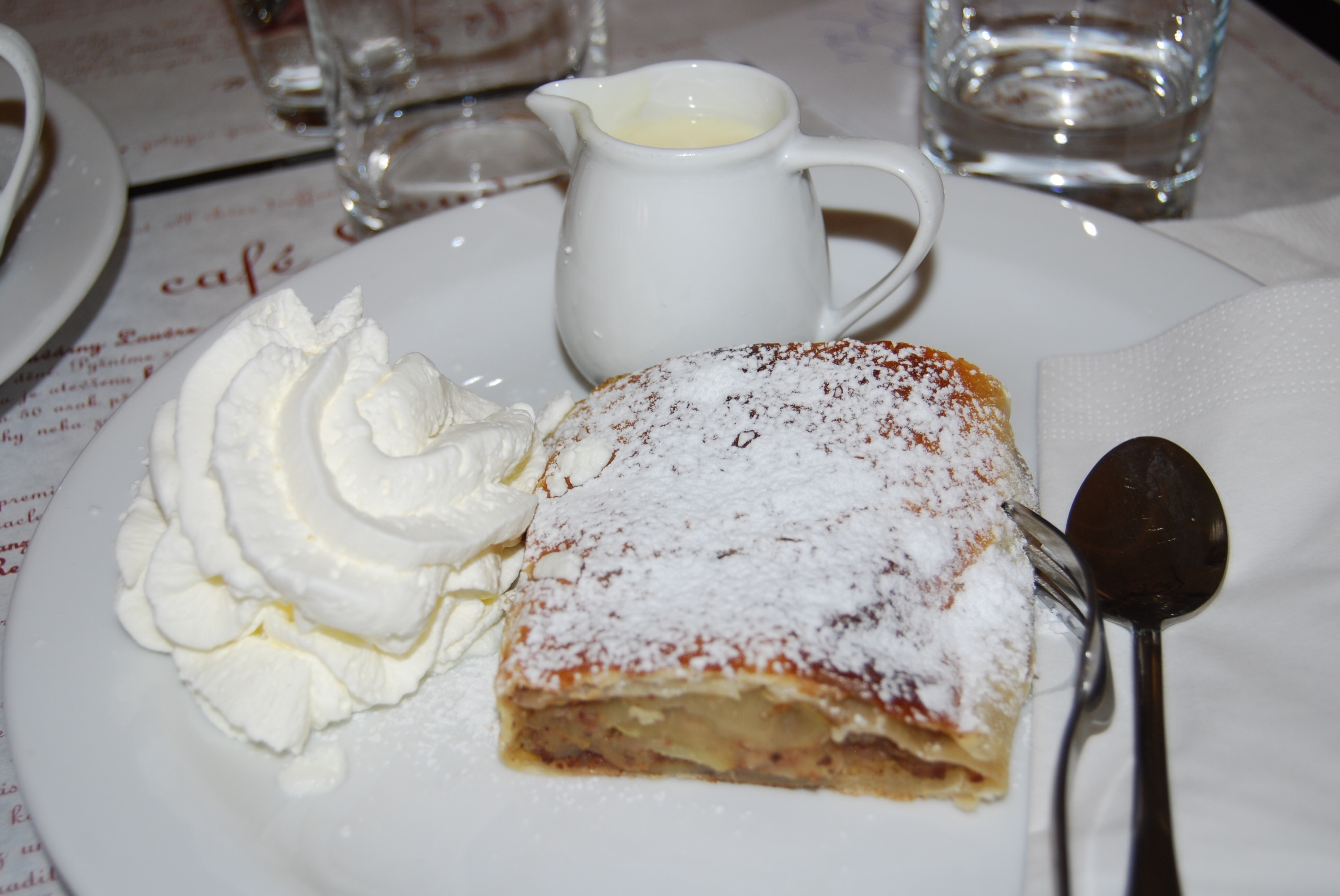 The Cafe Louvre's custard cream sauce makes their apple strudel special PieLadyLife.com