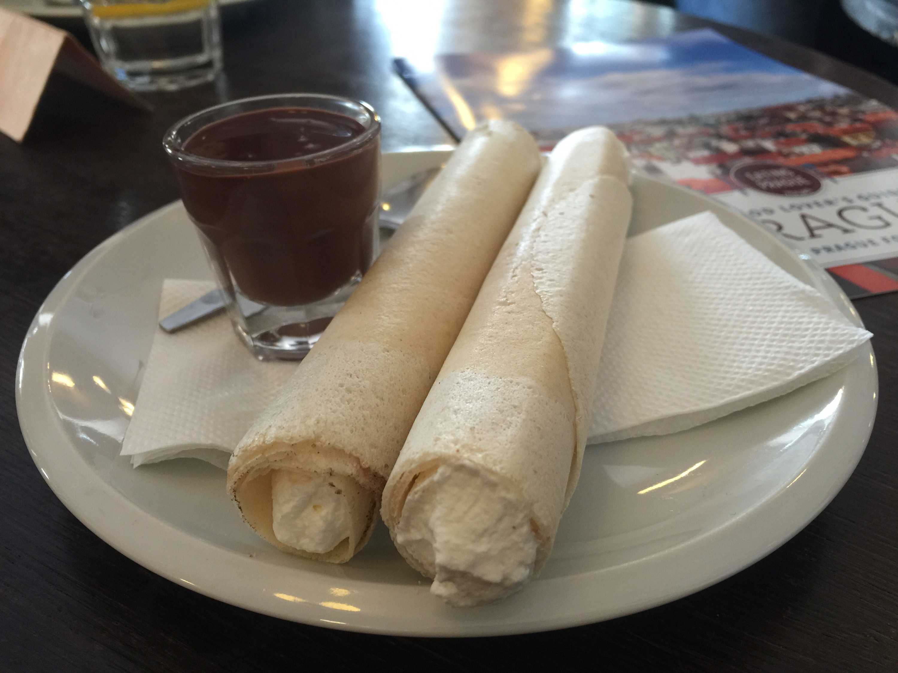 Horice rolled wafers filled with cream dipped in chocolate at Choco Cafe on PieLadyLife,com