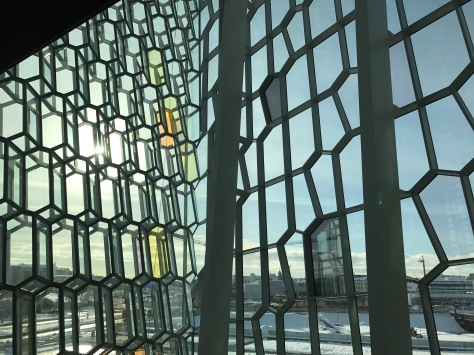 Looking out through the windows of Harpa Concert Hall
